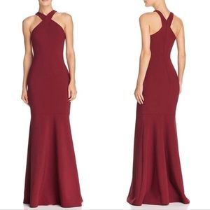LIKELY Willa Mermaid Cross Halter Strap Gown